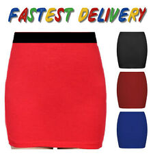 New womens colour stretch elasticated jersey bodycon short mini skirt ^ sw