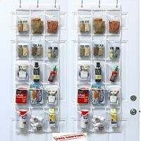 2 Pcs Over the Door Hanging Pantry Organizer Pocket Storage Space Saver Clear