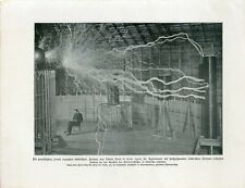 c1900 NIKOLA TESLA ELECTRICAL ENGINEER LIGHTNINGS Antique Litho Print W.Bolsche