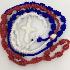 Cord Rosary Necklace Knotted Rosary Red White and Blue  Ships Next Day wTracking
