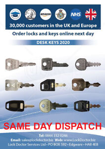 Desk Keys cut to code DISPATCHED SAME DAY **FREE 48HR TRACKED** REPLACEMENT KEYS