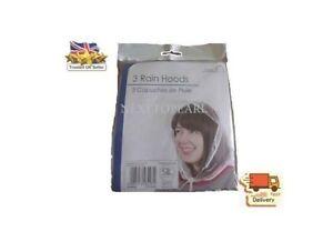 Pack of 3 Rain Hats Clear Plastic Hood Bonnet Emergency Hair Cover , NEW