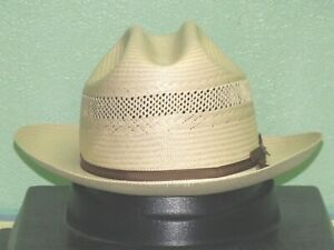 STETSON 10X SHANTUNG STRAW VENTED OPEN ROAD WESTERN HAT