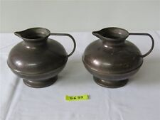 2 x Antik Messing Krug Vase Kanne Henkelkrug H 12,8 cm WUNDERSCHÖN