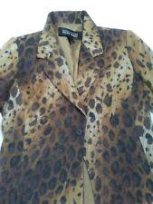 LINDA ALLARD ELLEN TRACY size 8 Leopard Print 1 Button Jacket Wool Blend Korea