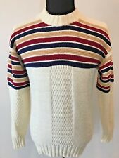 Vintage 1970s 1980s mk today Ivory Red Blue Striped Ski Sweater Size M or L S10