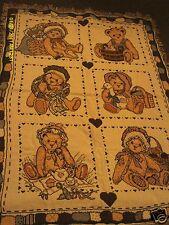 Enesco Cherished Teddies 6 bear cotton throw