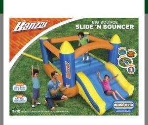 Banzai Big Bounce Slide N Bouncer Giant Summer fun kids Inflatable Bounce House