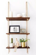 Decorative Rustic Jute Rope Wall Hanging Floating Shelves, Wood, 3 Tier