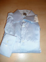 NEW $265 IKE BEHAR Mens Dress SHIRT 16.5 34 35 Blue Made in USA Cotton BC GOLD