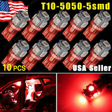 10X Pure Red T10 5SMD 5050 LED Car Dome License Map Light W5W 158 192 194 168