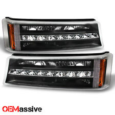 Fits 03-06 Chevy Silverado Avalanche LED Bumper Lights Turn Signal Lamps Black