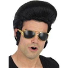 1950's Black Elvis Presley Wig - King Pop Adult Rock Roll Fancy Dress Quiff