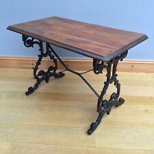 Antique Victorian Cast Iron Table Stretcher Mahogany Top Pub Patio Dining Desk