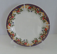 American Atelier Rooster pattern # 5229 Dinner Plate Yellow Scrolls Red Blue