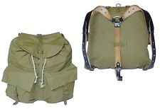 1980s Vintage Ex-Army Backpack Olive Canvas Black Leather Harness Rucksack Retro