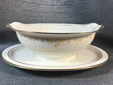 Noritake FRAGRANCE 7025 Gravy Boat w/ Attached Stand Ivory China