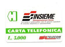 SCHEDA TELEFONICA TELECOM - INSIEME TELECOMUNICAZIONI PER IL SOCIALE  £5.000