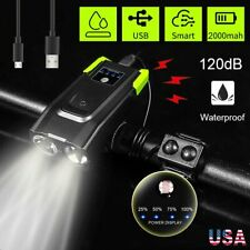 USB Rechargeable Bicycle Headlight LED Bike Head Light Front Lamp Cycling + Horn