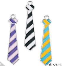 3 Enamel Necktie Charms Purple Yellow Black  11mm x 40 mm New
