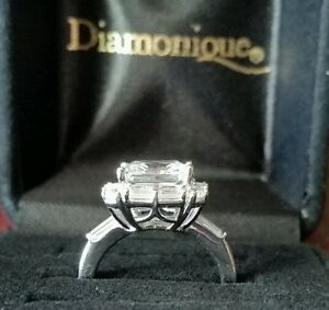 3 Carat Princess Cut Diamonique Solitaire Engagement Ring Size 5 QVC