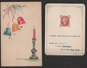 Stamps Used to Make Christmas Cards, 4 Different Examples from 1902 - 1975