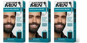 3 Just For Men Mens Facial Face Hair Colour Dye Moustache Beard REAL BLACK M55