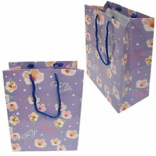 Bg-037/k01bg 12 Pc Purple w/ Pink Flowers Drawstring Tote Party Favor Gift Bags