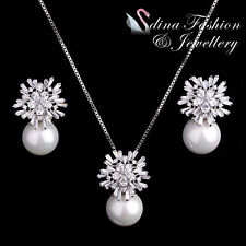 18K White Gold Plated Simulated Pearl Cubic Zirconia Luxury Snowflake Set