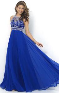 Abendkleid Ballkleid Partykleid Brautjungfernkleid Lang Kleid Royalblau BC264