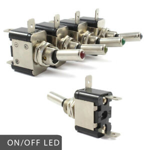 LED Heavy Duty On / Off Toggle Switch 25 AMP Rated 12v RED BLUE GREEN AMBER