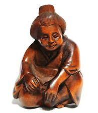 "Y6553 - 2"" Good Quality Hand Carved Boxwood Netsuke - Geisha Woman Lady"