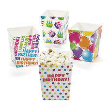 24 Happy Birthday Popcorn TREAT SNACK FAVOR BOXES balloons confetti cupcakes