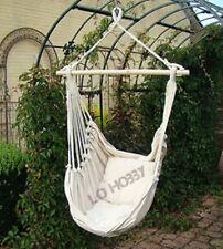 Amaca sedia a dondolo in cotone bianca ecrù con cuscini poltrona sospesa amache