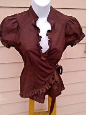 Edme & Esyllte Anthropologie 4 Brown Cotton Wrap Puffy Sleeve Blouse Top