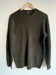 Uniqlo Knitted Dark Khaki Mens Jumper Large Army Scotland