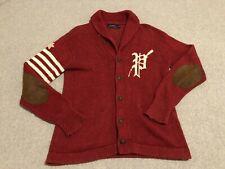 Polo Ralph Lauren Red Cardigan Sweater Shawl Collegiate Letterman Mens Small