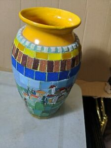 Vintage Multicoloured Mosaic  Glass Vase repaired top