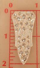 "1 silver Czech 2 loop sew-on metal embellishment button shield 2"" x 1"" #585"