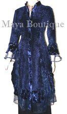 Dress Coat Crinkle Silk Velvet & Organza Ruffle Navy Blue Small Maya Matazaro