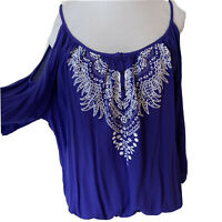 Shyanne Womens Top XL BoHo Western Cold Shoulder Purple Tunic Embroidered NWT