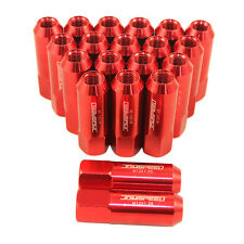 M12X1.25 ALUMINUM TUNER RACING LUG NUTS JDMSPEED EXTENDED FORGED 60MM RED 20PC