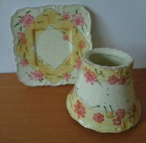 Yankee Candle Small Square Cream/Yellow with Pink Flowers Shade & Plate Set