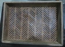 Asian  rustic Iron Revated joints Strips COAL STRAINERS  -wood body