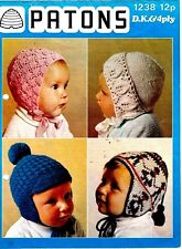 Patons DK knitting pattern, Baby two Bonnets, Two Helmets