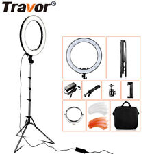 TRAVOR 18'' 55W 5500K Ring 240 LED Video Light Makeup Lighting Kit & 2m Stand UK