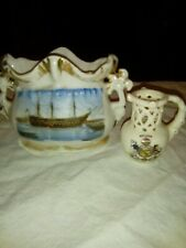 """Pottery Fairing Showing HMS Victory Plus Crested """"Nelson"""" Puzzle Jug"""