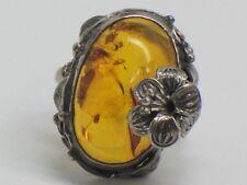 Vintage Sterling Silver Amber Ring Size 5.75