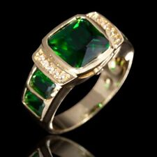 Rings Emerald Engagement Size 11 Gift Luxury Fashion Jewelry Gold Filled Mens