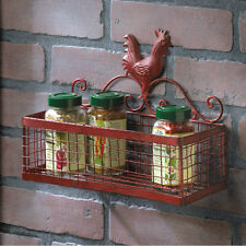 Red Rooster Single Basket Iron Wall Rack Primitive Rustic Country Farmhouse Gift